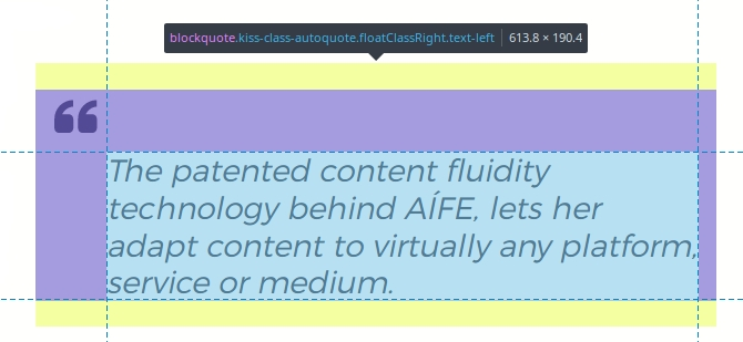 An example of a quote lifted from the content and styled by the AI.