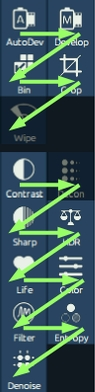 The icons in the top two panels roughly follow a recommended workflow when read left to right, top to bottom.