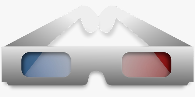 A pair of red/cyan filter glasses.