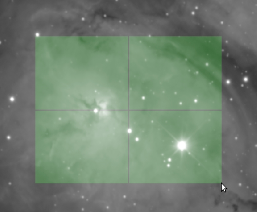 An image with a green square with crosshairs