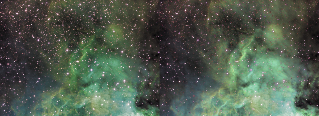 An entropy module processed image, showing a before and after image with less and more O-III emissions respectively.