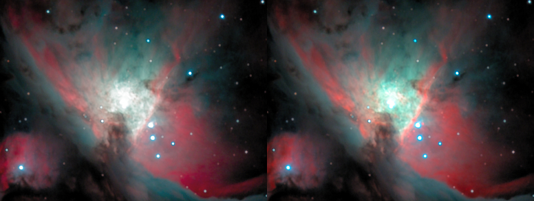 A side-by-side image of M42's core